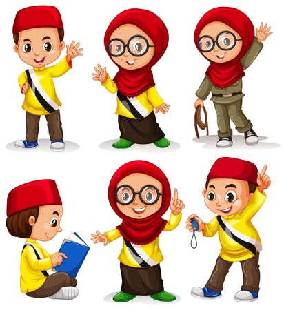 teen boy: Brunei children in costumes illustration
