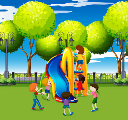 kids playing: Kids playing on slide in the park illustration Illustration