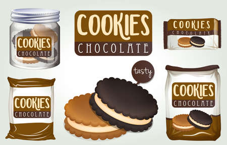 chocolate cookies: Chocolate cookies in different packages illustration