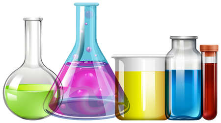 beakers: Glass beakers with colorful liquid illustration