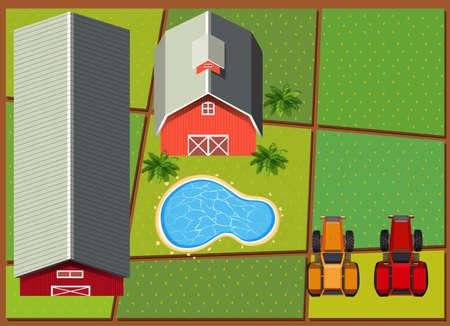 barns: Aerial scene with barns in the farm illustration Illustration