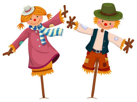 Two scarecrows look like girl and boy illustration