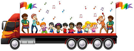 gay parade: Children singing and dancing on the truck illustration
