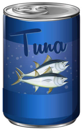 canned food: Canned food with tuna inside illustration Illustration