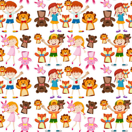 puppets: Seamless background with kids and puppets illustration Illustration