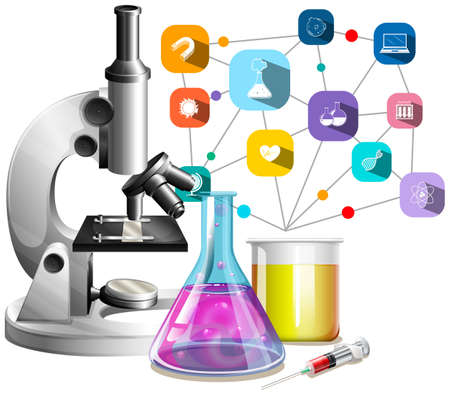 science lab: Microscope and glass beakers illustration