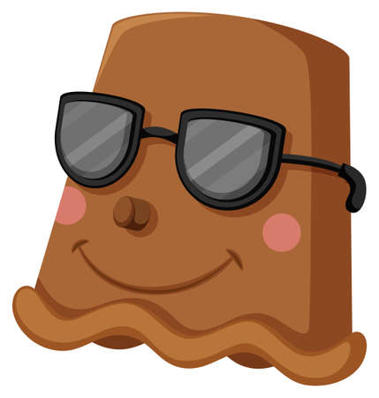 clay pot: Clay pot with happy face wearing sunglasses illustration