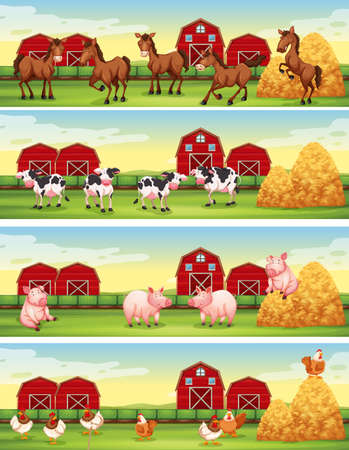 Four scenes of farm animals in the farm illustration