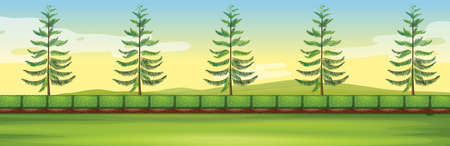 fields  grass: Scene with trees in the park illustration