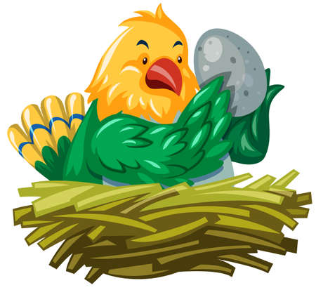 hatching: Bird hatching egg in the nest illustration Illustration
