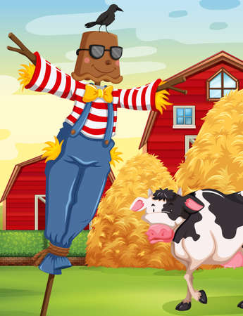 Scene with scarecrow in the farm illustration