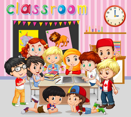 children art: Students learning in classroom illustration