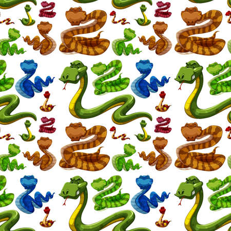 crawling creature: Seamless background with wild snakes illustration