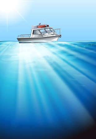 floating in water: Tugboat floating on the water illustration Illustration
