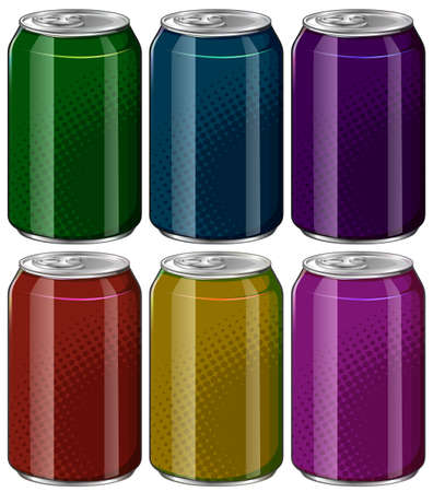 green and purple: Aluminum cans in six different colors illustration Illustration