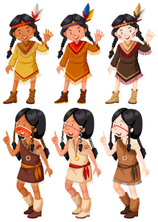 young group: Native American Indian girls waving illustration