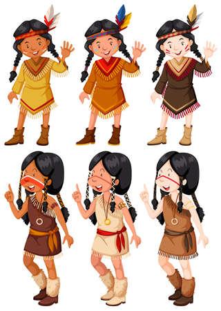 Native American Indian ragazze agitando illustrazione