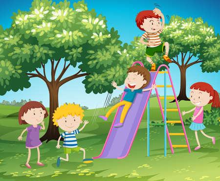 slide: Children playing slide in the park illustration Illustration