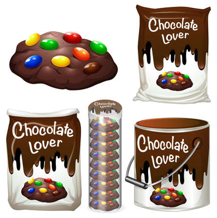 choc: Chocolate cookies in many packaging illustration Illustration