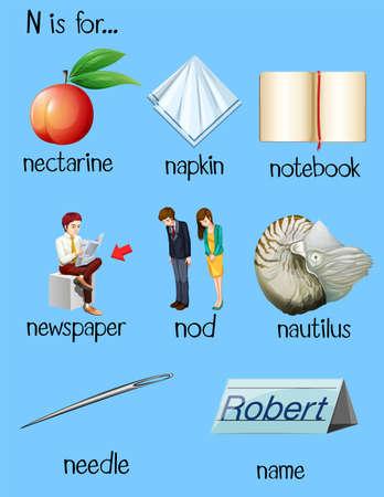 begin: Many words begin with letter N illustration