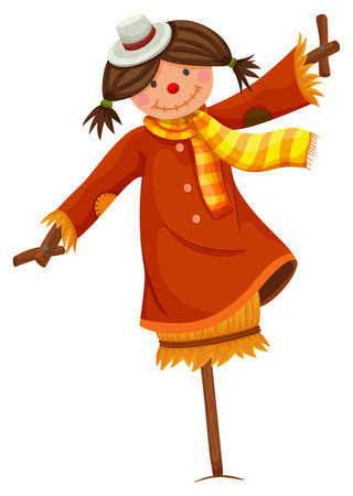 Scarecrow in woman dress and scarf illustration