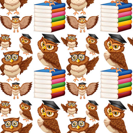 owl illustration: Seamless background with owl and books illustration