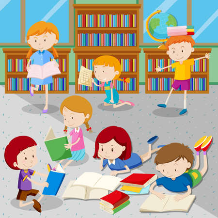 books library: Students reading books in library illustration Illustration