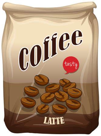 latte: Bag of coffee latte illustration Illustration