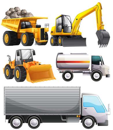 Différents types de tracteurs et camions illustration