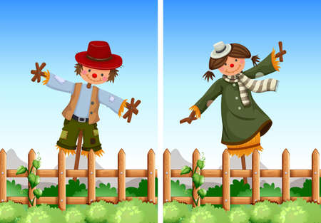 hay field: Scarecrows in the field illustration