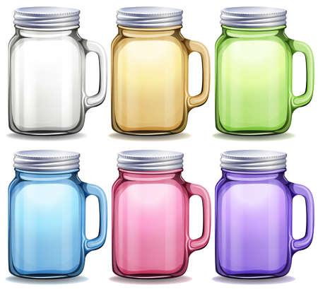 glass jar: Glass jars in six different colors illustration Illustration