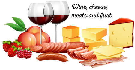 Red wine with meats and cheese illustration Illustration
