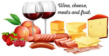carnes: Vino tinto con carnes y quesos ilustración