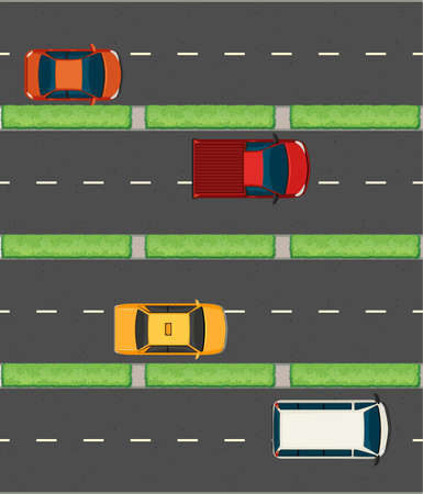 express lane: Aerial view of cars on the roads illustration