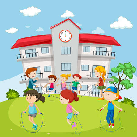children at play: Kids jumping rope at the school ground illustration Illustration