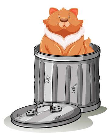 trashcan: Fat cat sitting in trashcan illustration