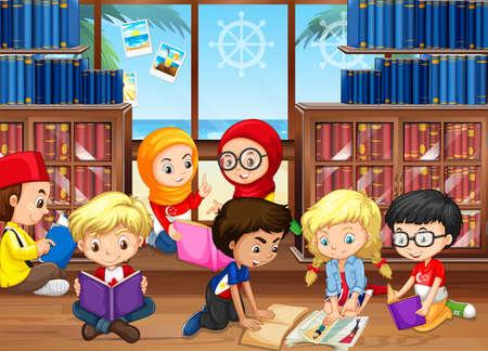 図書館イラストで本を読む子どもたち