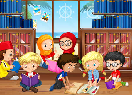 books library: Children reading books in library illustration