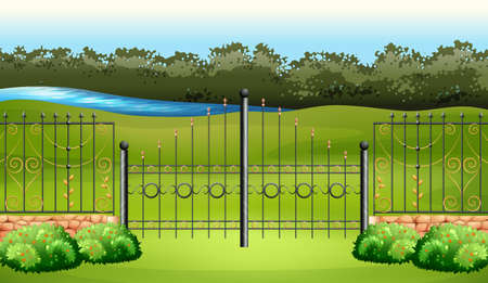 Scene with metal fence in the garden illustration Illustration