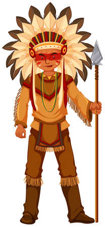 american: Native American Indian man with weapon illustration Illustration