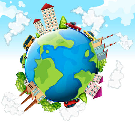 greenhouse effect: Buildings and cars on earth illustration Illustration