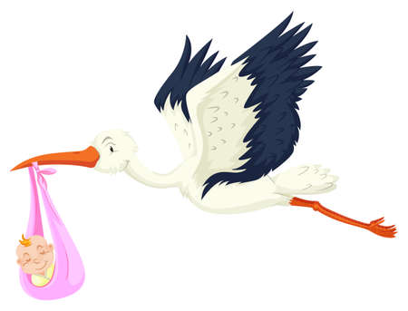 baby girl: Crane delivering baby girl illustration Illustration
