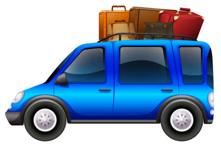 loaded: Blue car loaded with luggages illustration