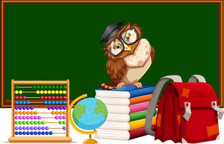 educational materials: Blackboard and many educational materials illustration