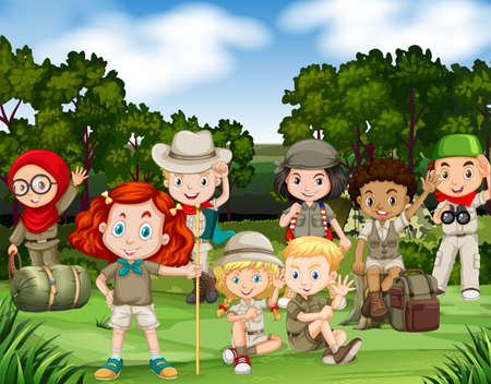 hiking: Children hiking in the woods illustration Illustration
