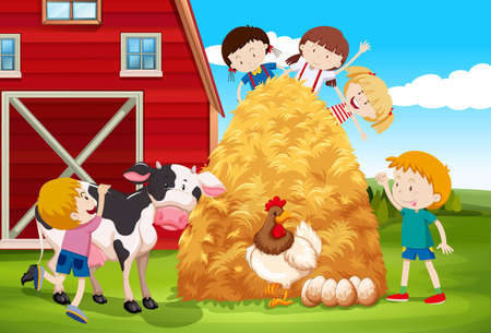 barn girls: Children playing with farm animals in farm illustration