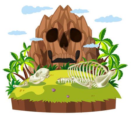 Animal skull on island illustration Illustration
