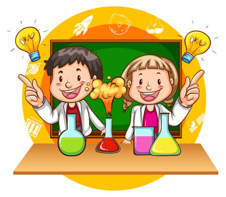 Boy and girl doing science experiment illustration