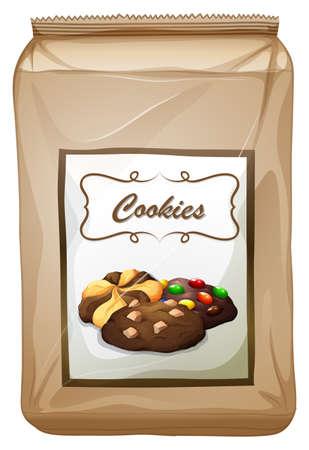 Packaging design con sacchetto di biscotti illustrazione