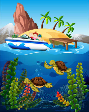 summer holiday: People in boat and turtles under the sea illustration